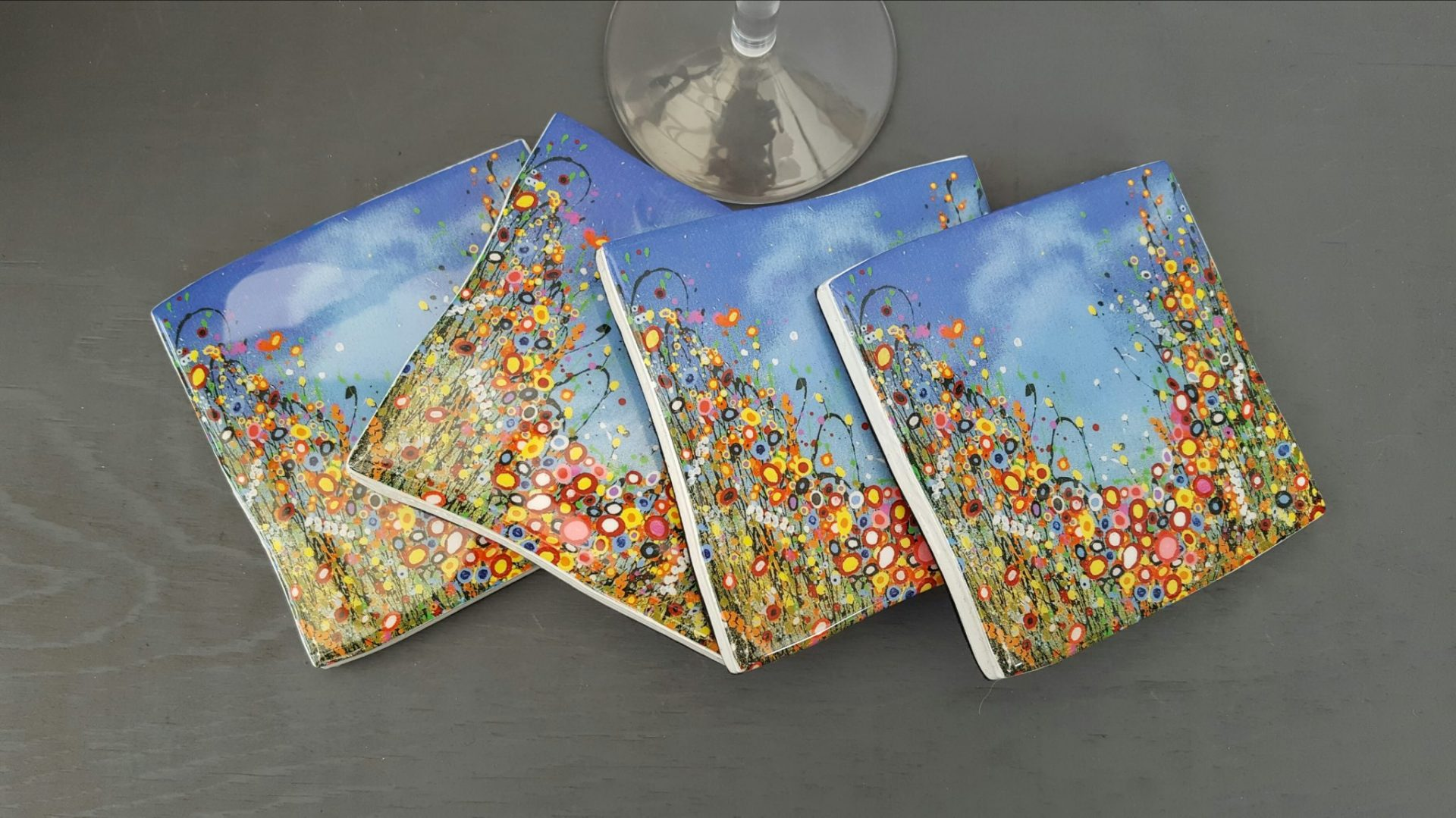 Simone Crossland colourful floral canvases in an abstract style. available from Fabrication Crafts, the home of unique art and homewares in Leeds