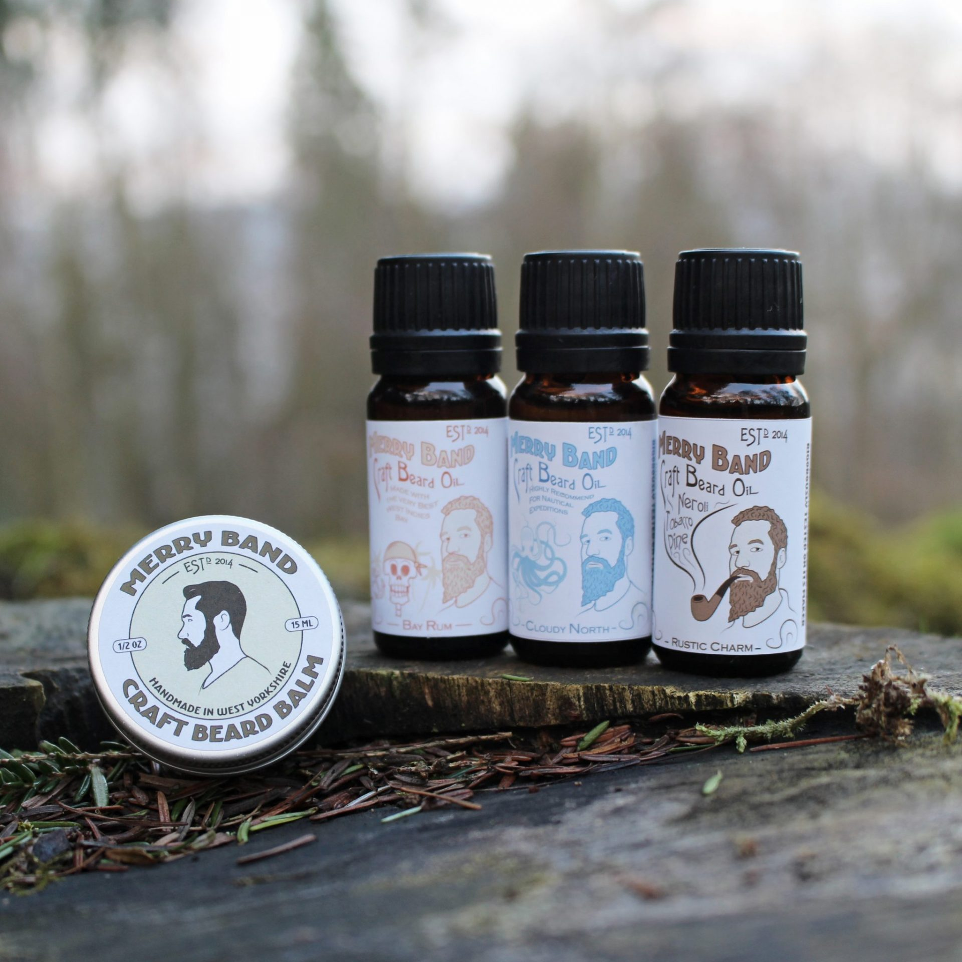 Merry Band Beard Oil, pomade & wax for male grooming Leeds, beard oils, moustache wax, balms and pomades, perfect for gifts, vegan, organic