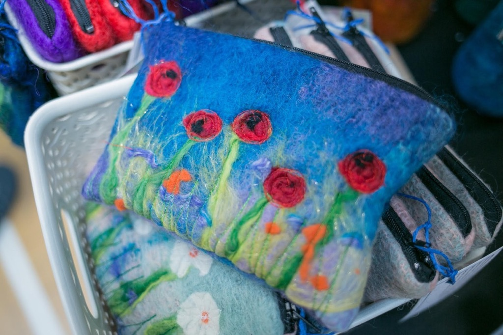 Hand felted purses and scarves using vintage mohair and wool fibres. Accessories from an independent fashion designer leeds, perfect for gifts
