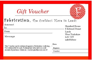 Fabrication Crafts sell gift vouchers in a variety of prices. These vouchers can be redeemed against any of our classes and workshops, by adding the code at the checkout