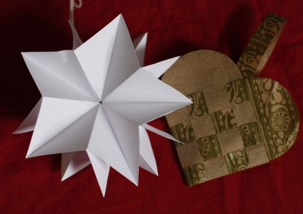 Star and heart shaped christmas decorations